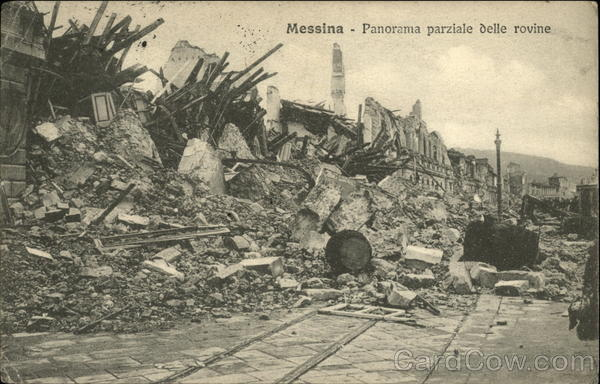 Panorama parziale delle rovine / Partial view of the ruins after the 1908 earthquake Messina Italy