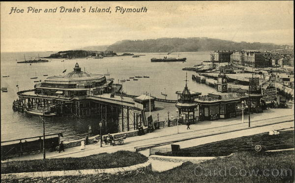 Hoe Pier and Drake's Island Plymouth England Devon