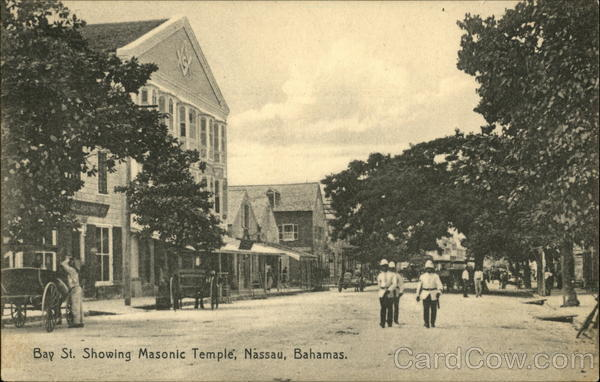 Bay Street showing Masonic Temple Nassau Bahamas Caribbean Islands
