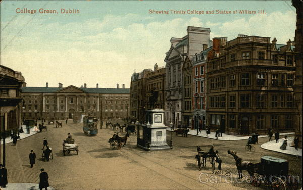 College Green with Trinity College and Statue of William III Dublin Ireland