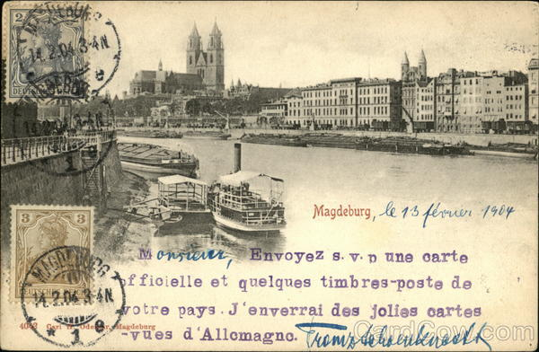 City and Elbe River Magdeburg Germany Maximum Cards