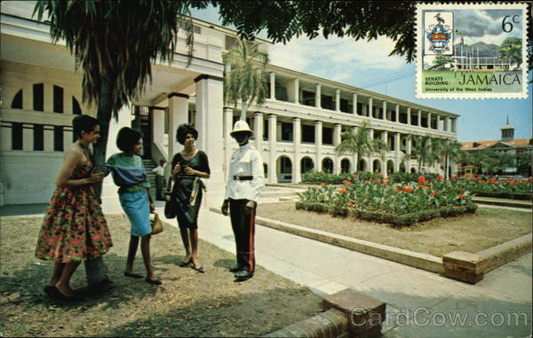 Policeman & Jamaican Girls In Front Of Public Buildings Kingston