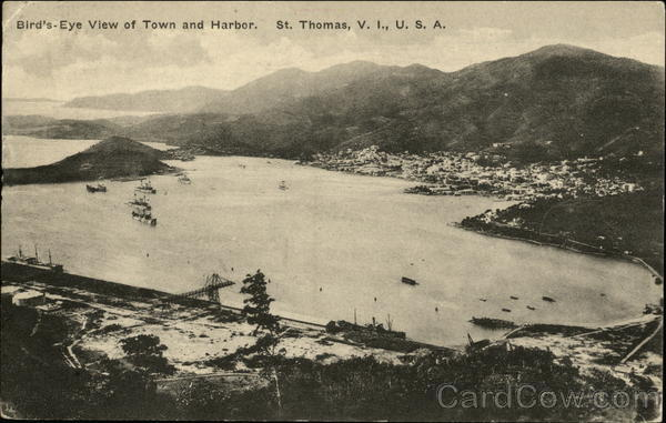 View of Town and Harbor St. Thomas Virgin Islands Caribbean Islands