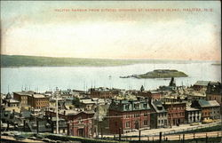 Halifax Harbor from Citadel showing St. George's Island, Halifax, N.S