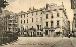 Royal Clarence Hotel and Dellers Cafe Postcard