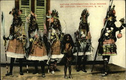 Natives Representing Wild Indians on Carnival Day, Trinidad, B. W. I