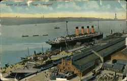 Liner at Landing Stage Postcard