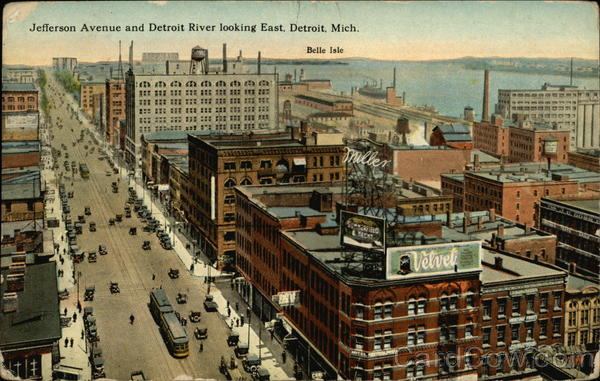Jefferson Avenue and Detroit River Looking East Michigan