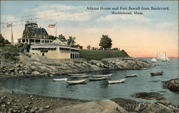 Adams House and Fort Sewell from Boulevard Marblehead Massachusetts