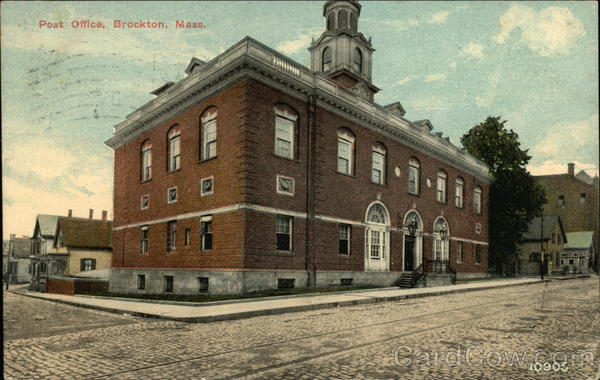 Street View of Post Office Brockton Massachusetts