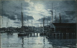 Harbor and Wharf Scene by Moonlight