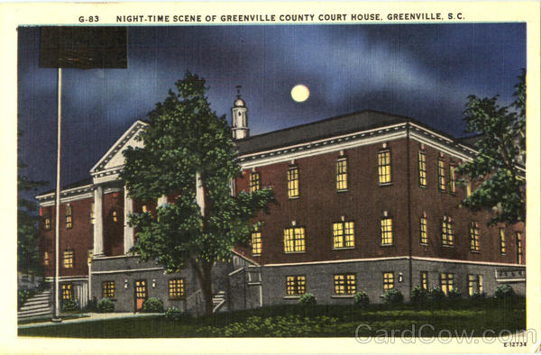Night - Time Scene Of Greenville County Court House South Carolina