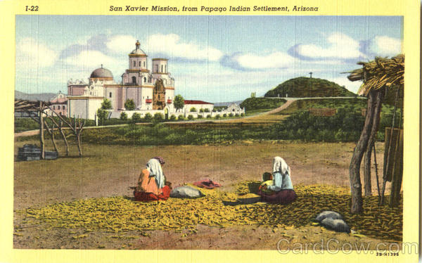 San Xavier Mission From Papago Indian Settlement Arizona