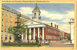 Court House And Fountain Memorial Square Postcard