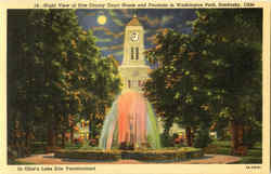 Night View Of Erie County Court House And Fountain In Washington Park