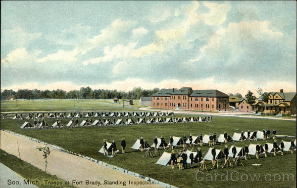 Troops at Fort Brady, Standing Inspection Soo Michigan