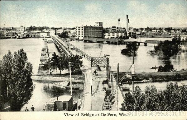 View of Bridge at De Pere, Wis Wisconsin
