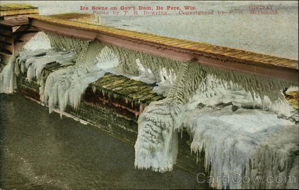 Ice Scene on Gov't. Dam De Pere Wisconsin