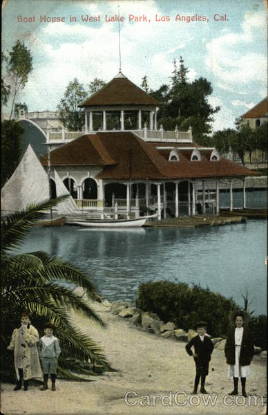 Boat House in West Lake Park Los Angeles California
