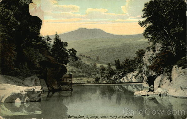 Bridge, Camels Hump in Distance, Bolton Falls Waterbury Vermont