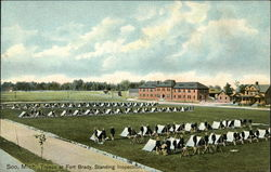 Troops at Fort Brady, Standing Inspection