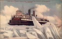 Car Ferry Chief Wawatam Crossing the Straits of Mackinaw in Winter