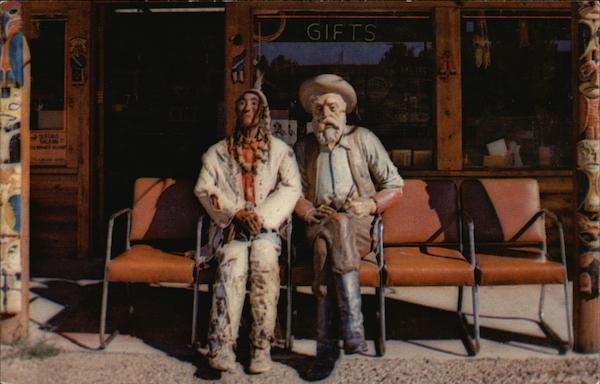 Prospector Pete and Injun Joe Sitting in Front of the Buffalo Bill Shop Greeting Visitors Cody Wyoming