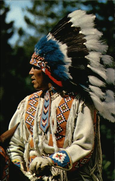 A North American Indian in Traditional Head-Dress Native Americana