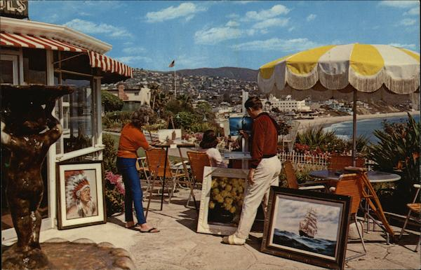 Colorful View of Artists at Work on the Patio of Victor Hugos Laguna Beach California