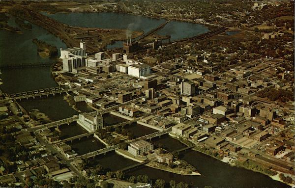 View of Municipal Island and the Quaker Oats Co., Chamber of Commerce Building Cedar Rapids Iowa