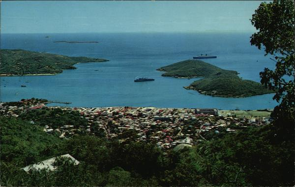 View of Charlotte Amalie with Hassel Island in the Harbor St. Thomas, U.S. Virgin Islands