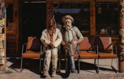 Prospector Pete and Injun Joe Sitting in Front of the Buffalo Bill Shop Greeting Visitors