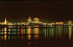 The Christmas Lights of Corpus Christi Reflect on Corpus Christi Bay