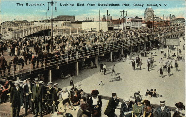 The Boardwalk Looking East from Steeplechase Pier Coney Island New York