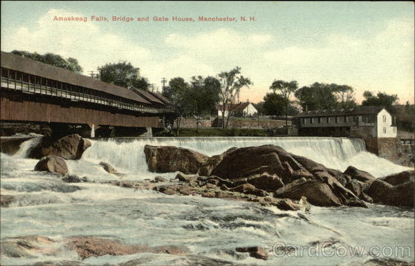 Amoskeag Falls, Bridge and Gate House Manchester New Hampshire