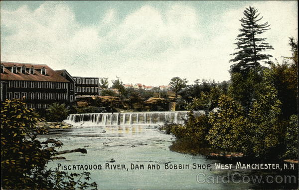 Piscataquog River, Dam and Bobbin Shop, West Manchester New Hampshire