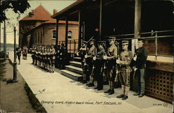 Changing Guard, Front of Guard House, Fort Slocum Postcard