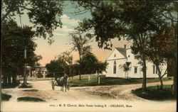 M. E. Church, Main Street Looking East Postcard