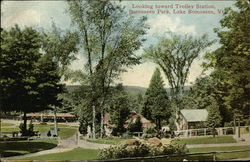 Looking toward Trolley Station, Bomoseen Park Postcard