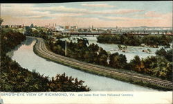 Bird's Eye View of City and James River from Hollywood Cemetery Postcard