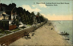 Board Walk Looking South from Bath House Postcard