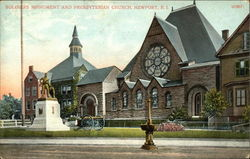Soldiers Monument and Presbyterian Church