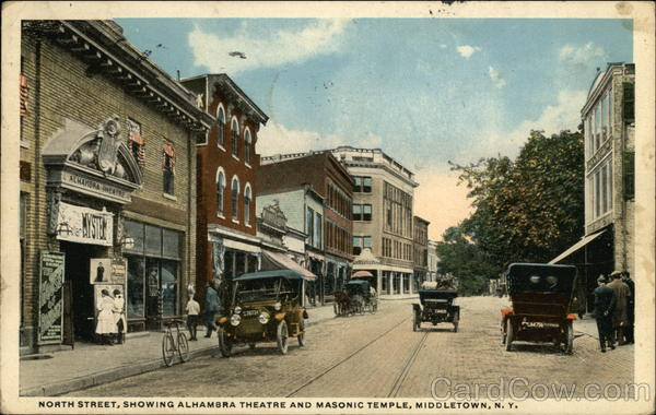 North Street showing Alhambra Theater and Masonic Temple Middletown New York