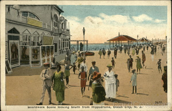 Boardwalk Scene Looking South From Hippodrome Ocean City New Jersey