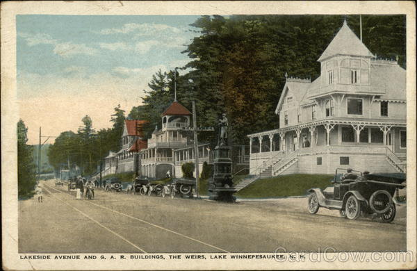 Lakeside Avenue and G.A.R. Buildings Weirs Beach New Hampshire