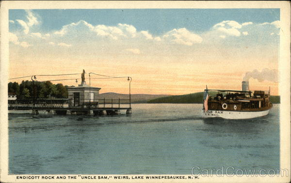 Endicott Rock and the Uncle Sam - Weirs Lake Winnipesaukee New Hampshire