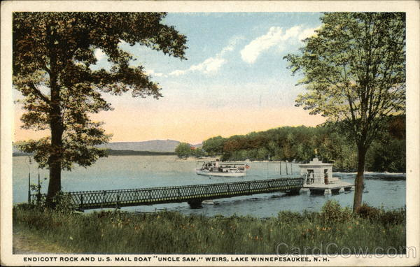 Endicott Rock and U.S. Mail Boat Uncle Sam Weirs Beach New Hampshire