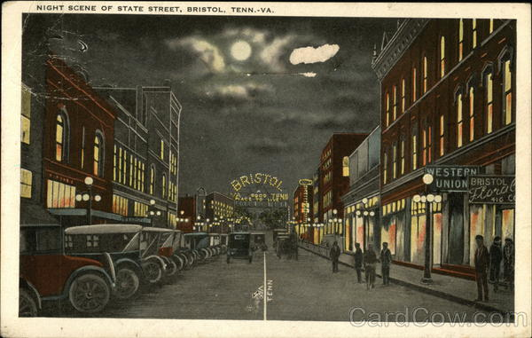 Night Scene of State Street Bristol Tennessee