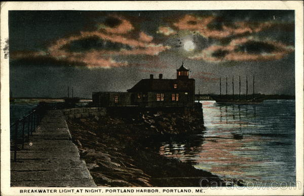 Breakwater Light at Night, Portland Harbor Maine