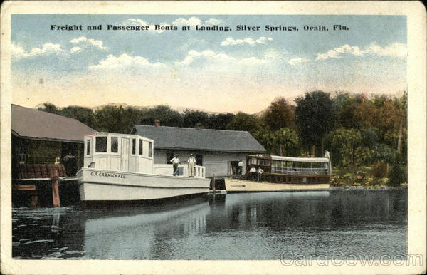 Freight and Passenger Boats at Landing, Silver Springs Ocala Florida